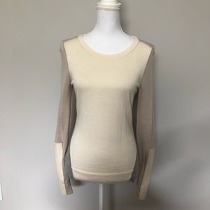 Ann Taylor Sweater 100% Italian Merino Wool Cream